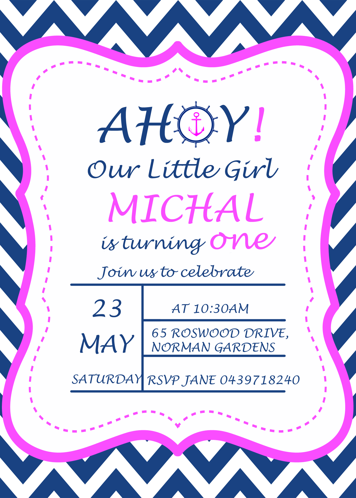 Navy Blue Pink Nautical Girl Birthday Invitation