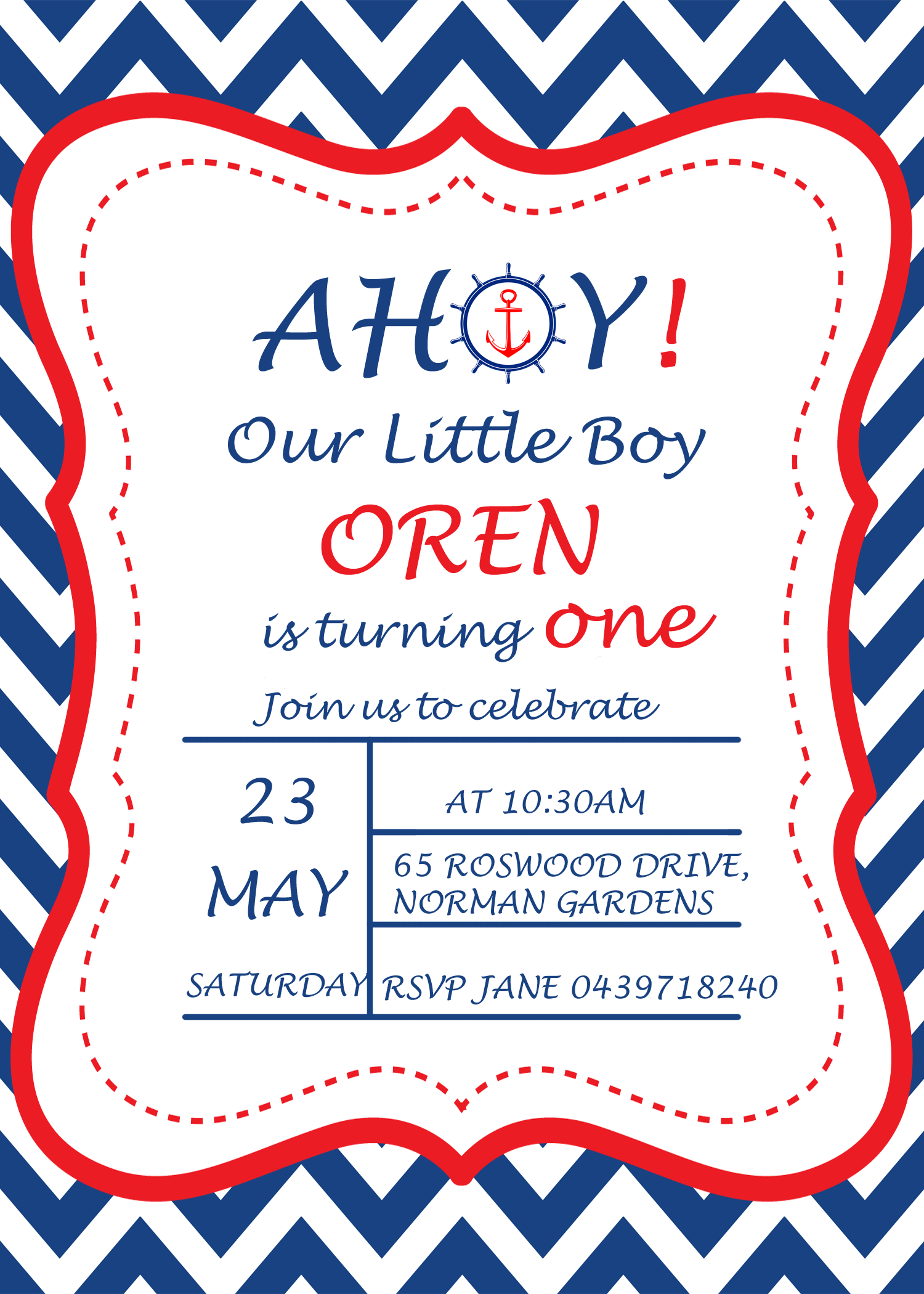 a navy blue nautical st birthday party  my practical birthday guide, Birthday invitations