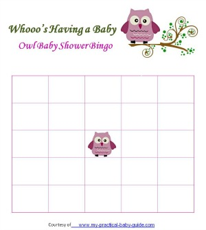 Free Owl Baby Shower Blank Bingo Cards