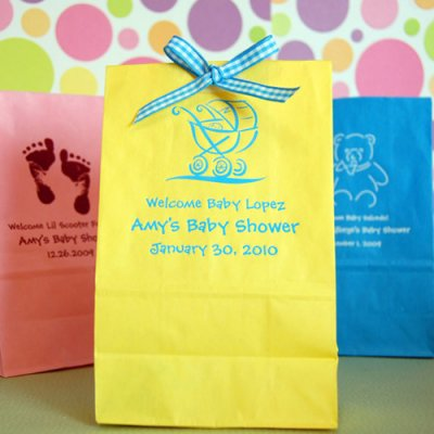 Baby shower gift bags my practical baby shower guide personalized baby shower paper goodie bags negle Gallery