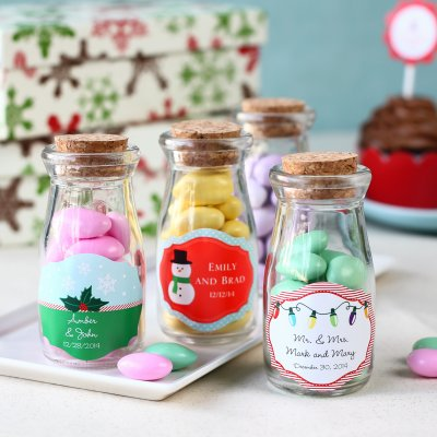 Personalized Holiday Vintage Milk Jars filled with Candies