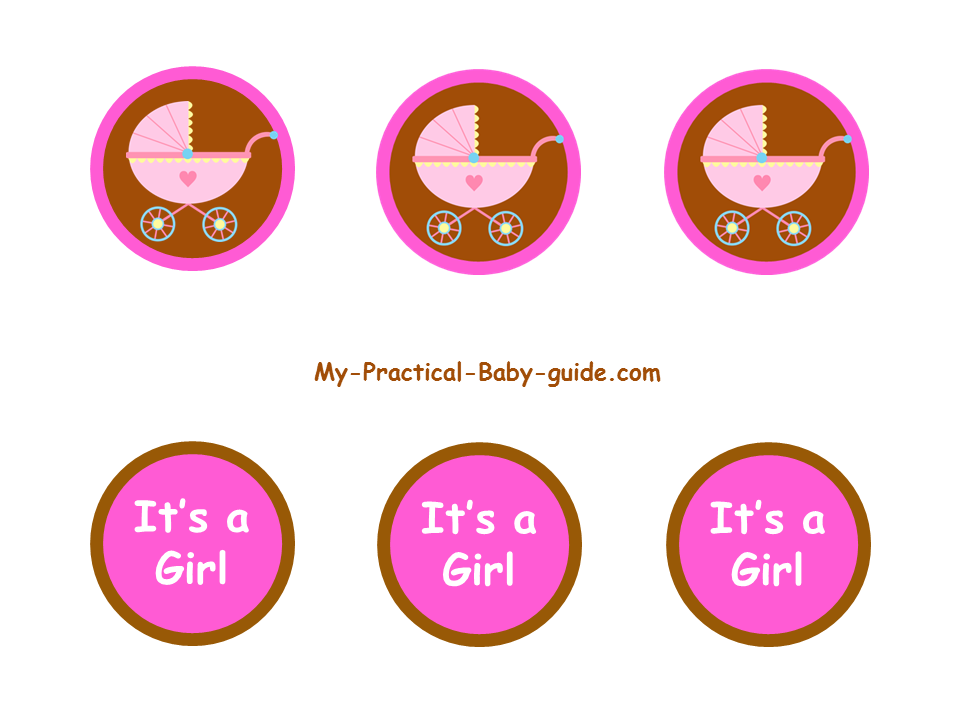 Free Printable Pink and Brown Baby Shower Cupcake Toppers