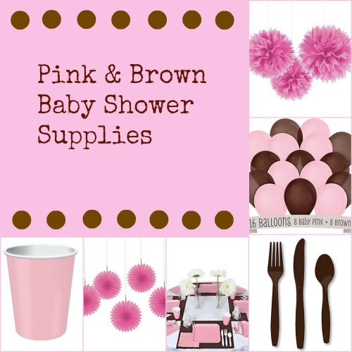 Pink and Brown Baby Shower Supplies