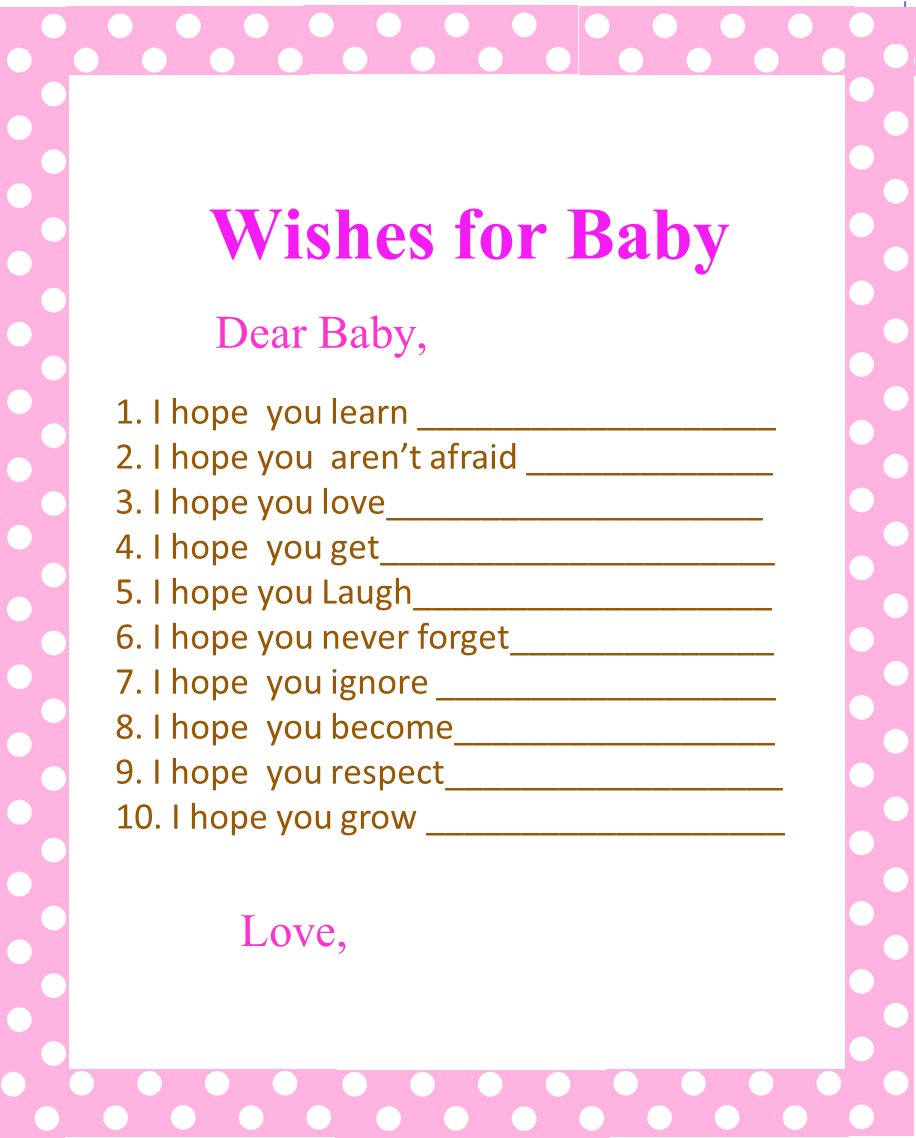 Free Printable Pink Polka Dots Wishes for Baby