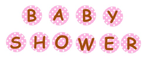 Free Printable Pink and Brown Baby Shower Circle Garland Banner