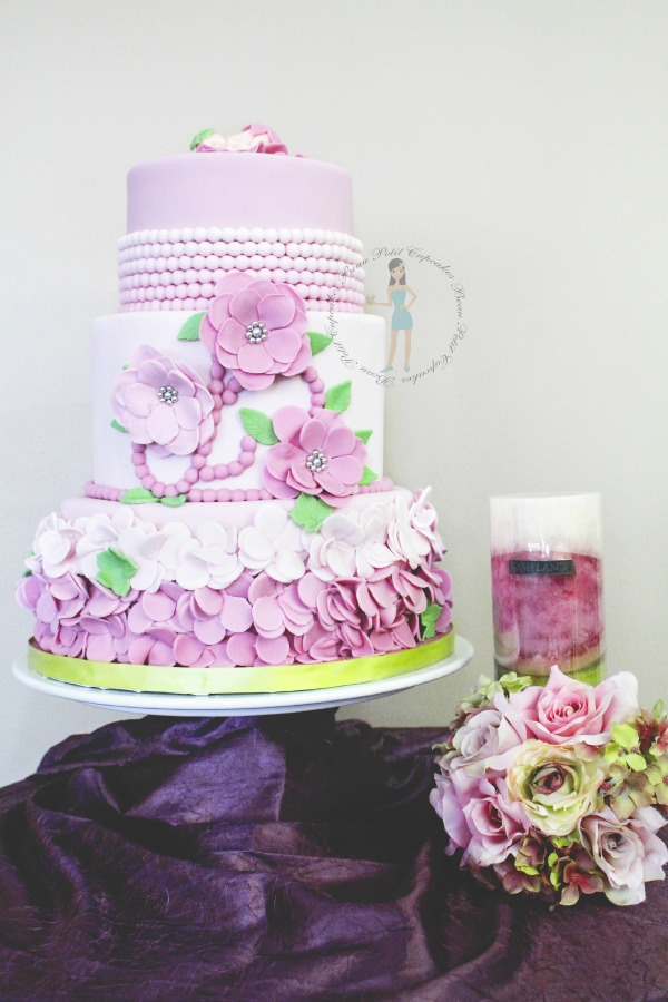 Pink Flower Girl Baby Shower Cake