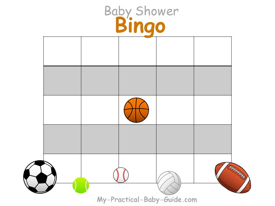 Sport Baby Shower Blank Bingo Cards