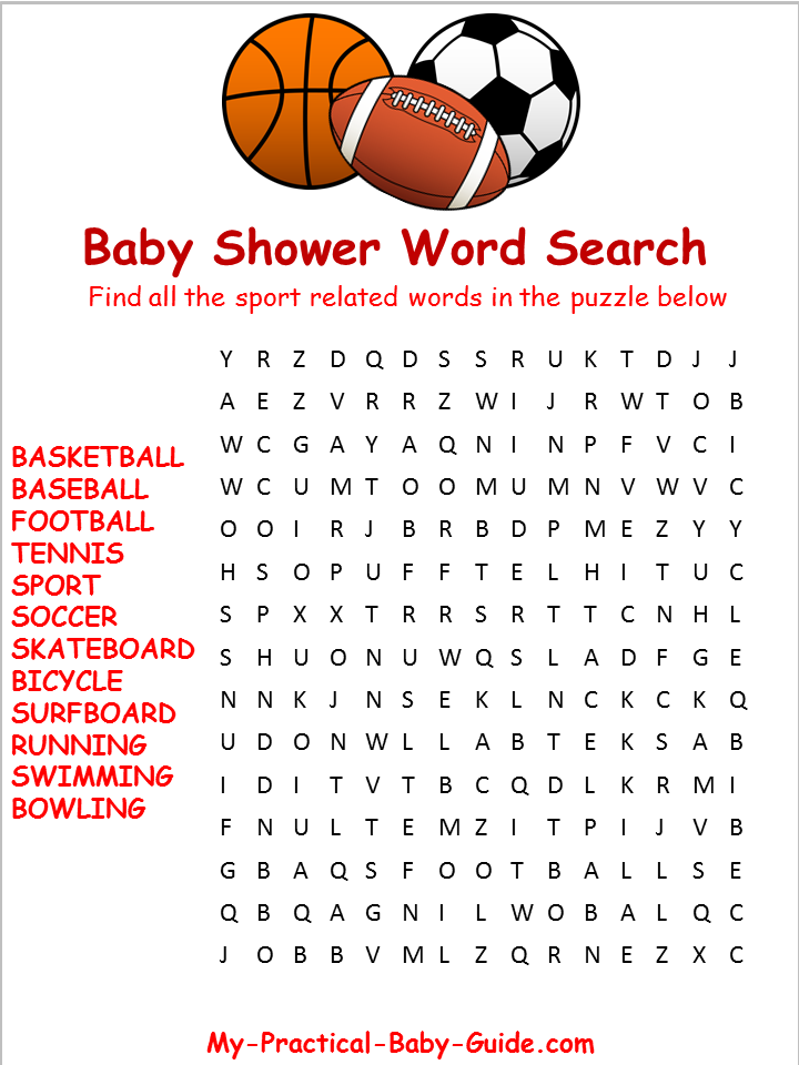 Free Printable Sport Baby Shower Word Search