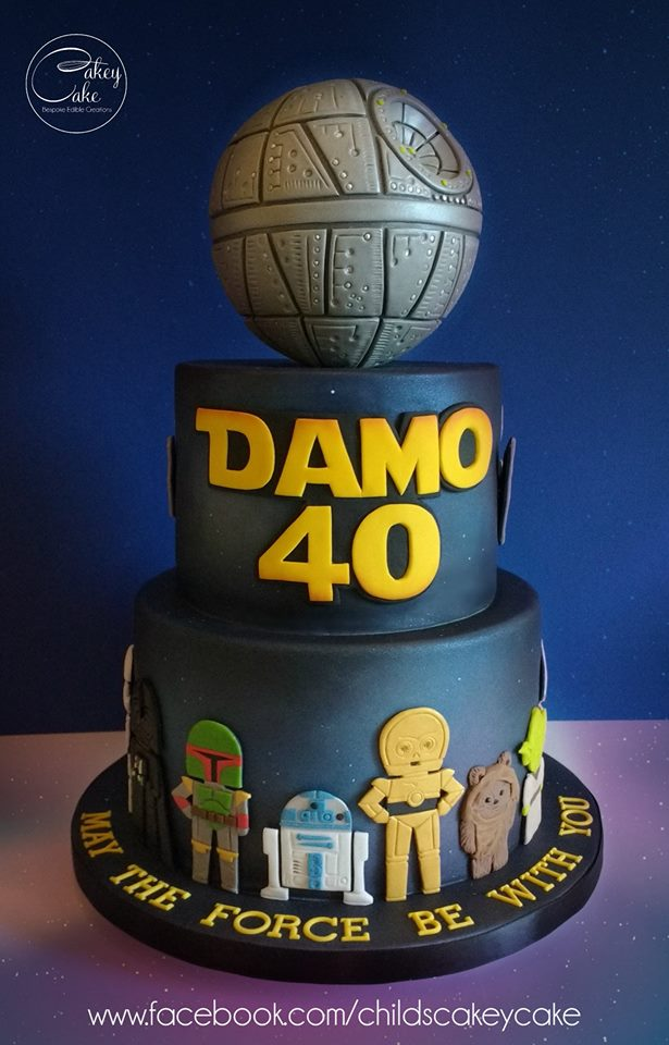 Star Wars Birthday Cake with Death Star Topper