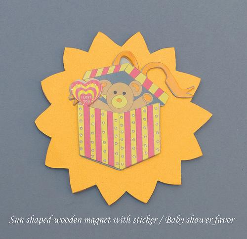 Sun shaped wooden magnet baby shower favor
