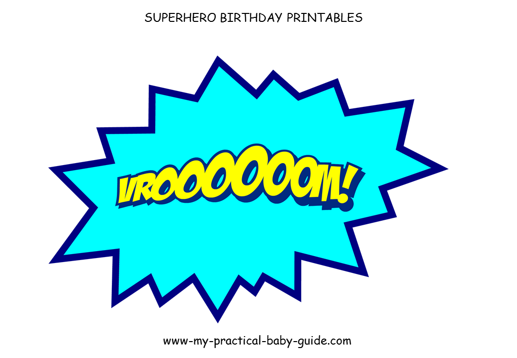 Free Printables Speech Bubbles Large Decorations Superhero Birthday Party
