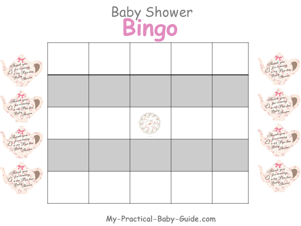 Free Printable Tea Party Baby Shower Bingo Blank Cards