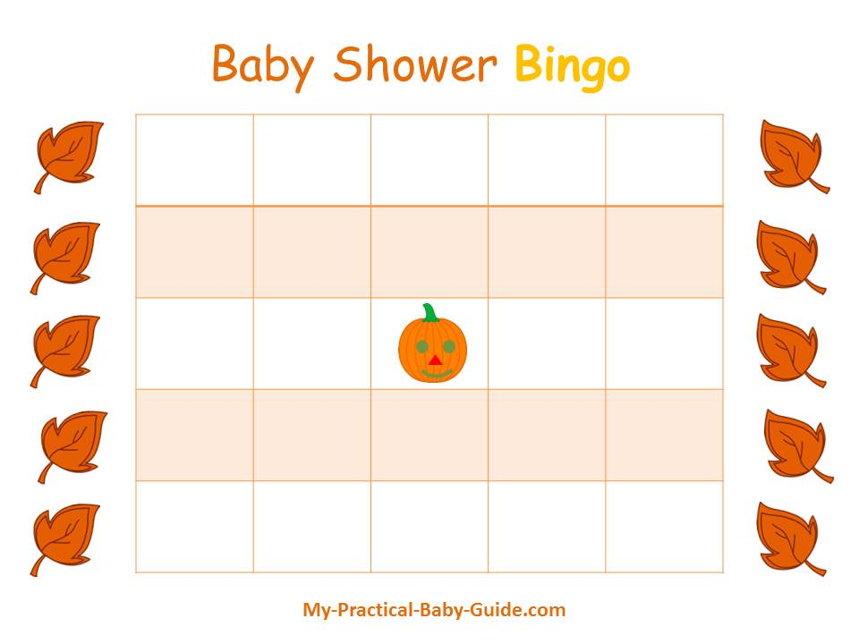 Thanksgiving Baby Shower Blank Bingo Cards