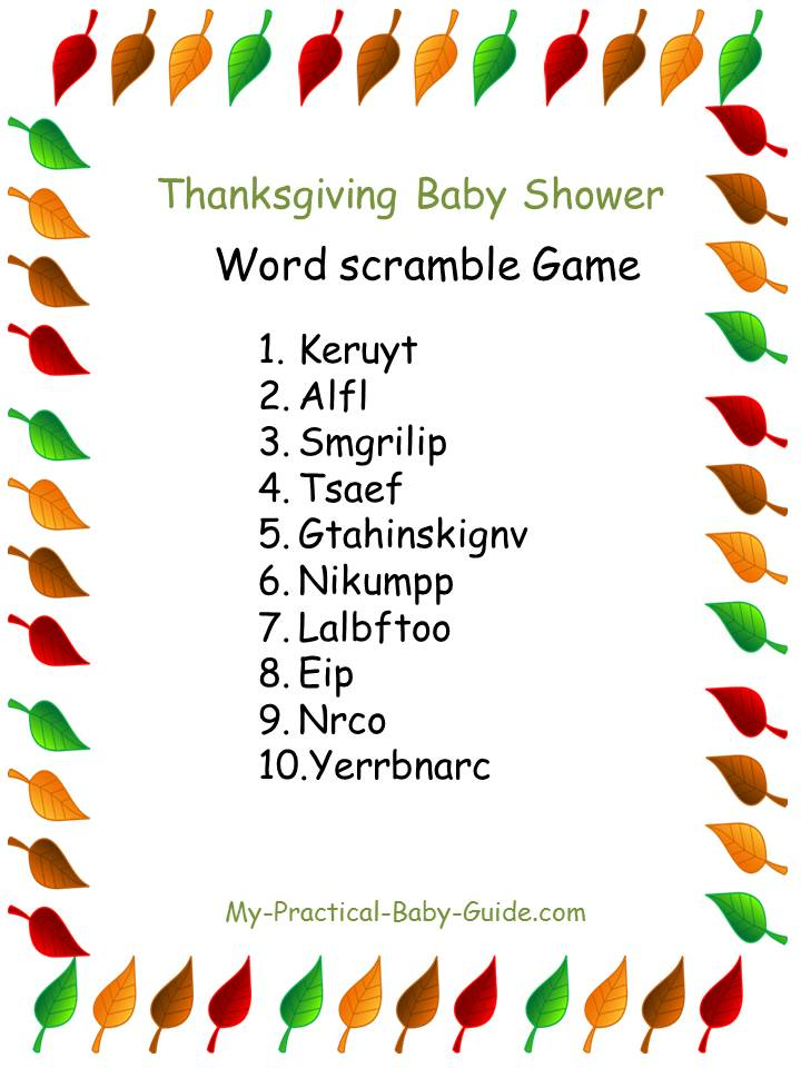 Thanksgiving Baby Shower Scramble Game
