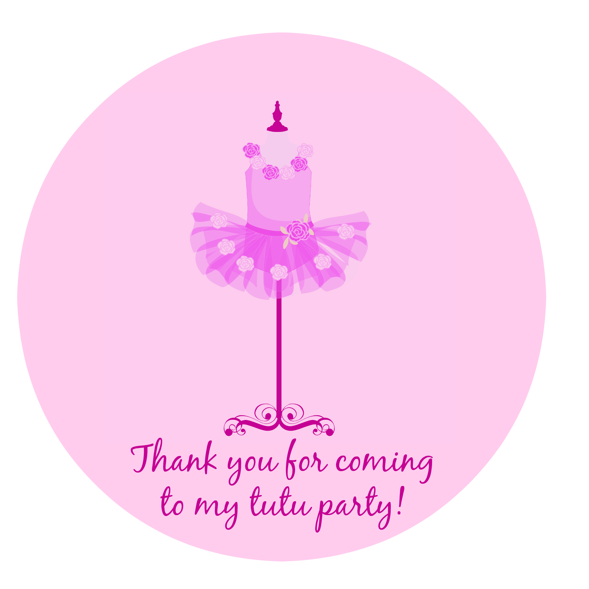 Free Printable Tutu Birthday Circle Thank You Gift Tags