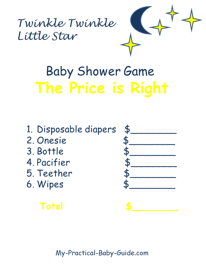 Twinkle Twinkle Little Star Baby Shower The Price is Right