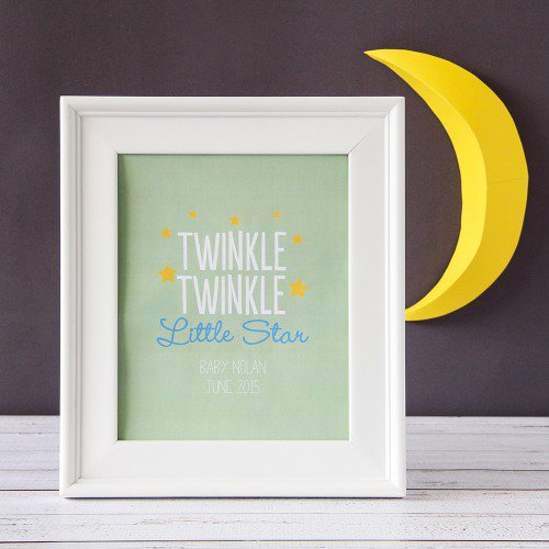 Twinkle Twinkle Themed Baby Shower Nursery Wall Art