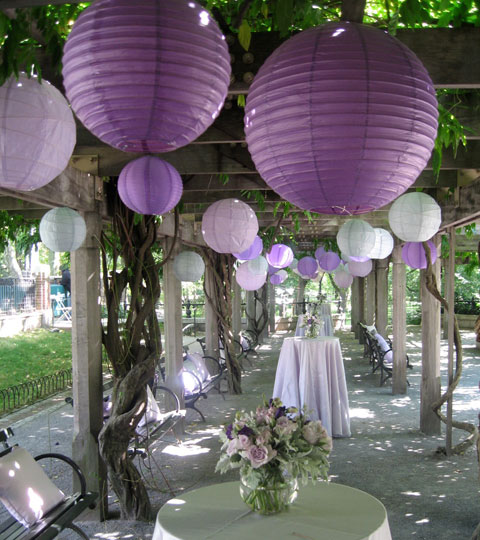 Beautiful varied size and shade purple lanterns