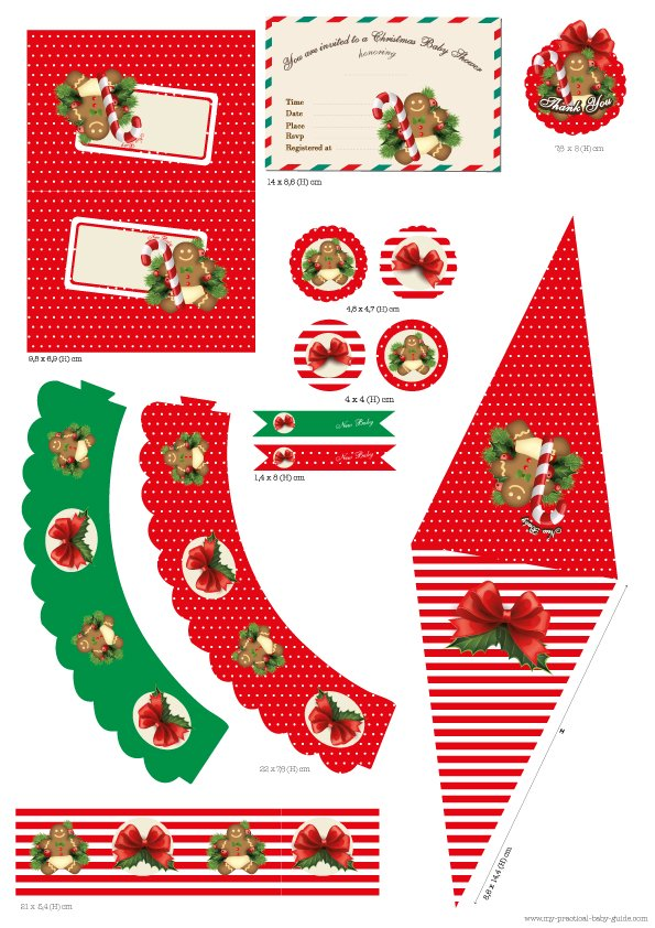 Free Printable Christmas Baby Shower Party Set