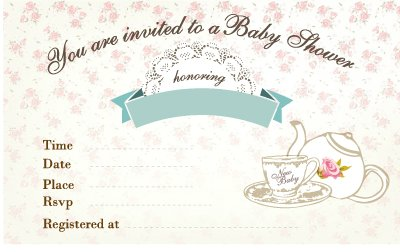 Free Printable Tea Garden Party Baby Shower Invitation