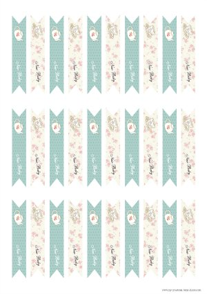 Free Printable Tea Party Baby Shower Little Flags for Straws