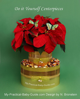 DIY Centerpiece of Poinsettias Plant and Candies for Christmas