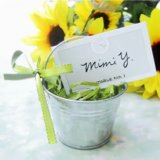 baby shower silver pail favor