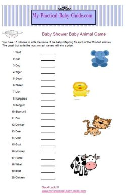 Free Printable Baby Shower Baby Animal Game