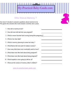Free Printable Baby Shower Game Who knows mommy?