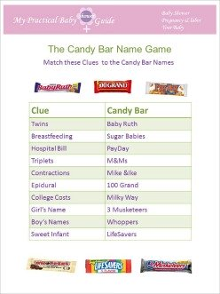 Free Printable Baby Shower Game the Candy Bar Name Game