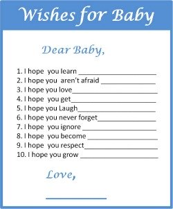Free Printable Wishes for a Baby Boy