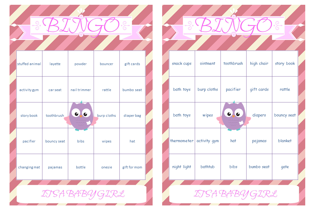 Bingo Cards prefilled with Baby Gift Words Owl Themed Baby Shower