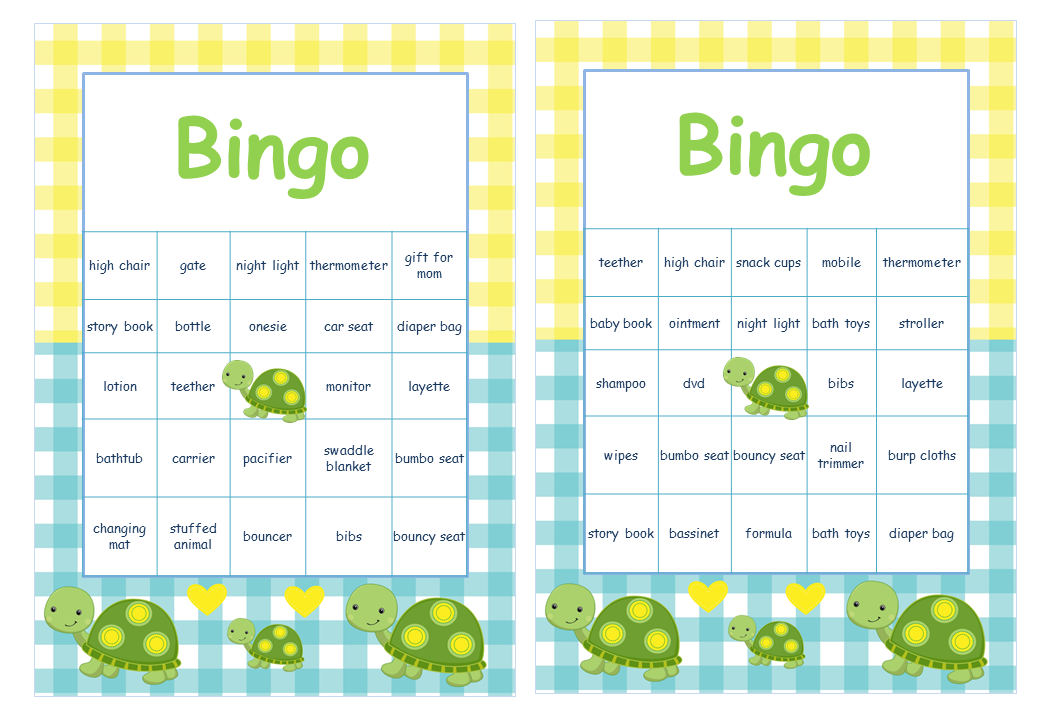 Turtle Themed Baby Shower Pre Filled Cards with Baby Gift Words