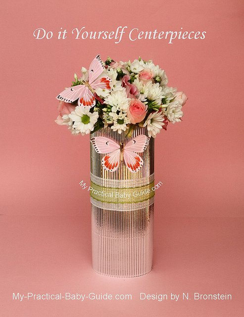 DIY White & Pink flower arrangement with butterflies for a baby shower