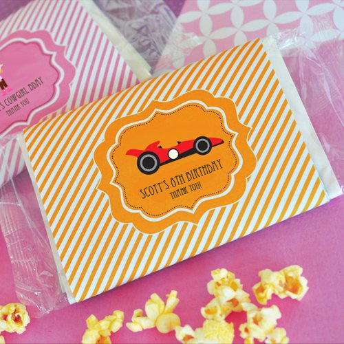 Personalized CAR Birthday Microwavable Popcorn Bags