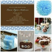 Chocolate Blue Polka Dots Baby Shower Inspiration Board