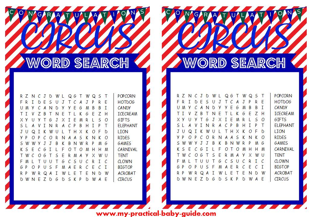 Free Circus Birthday Word Search Game Printable