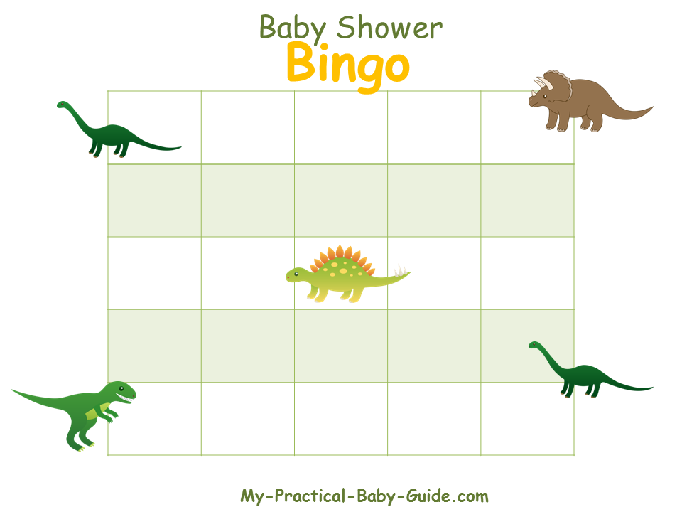 Dinosaur Baby Shower Blank Bingo Cards