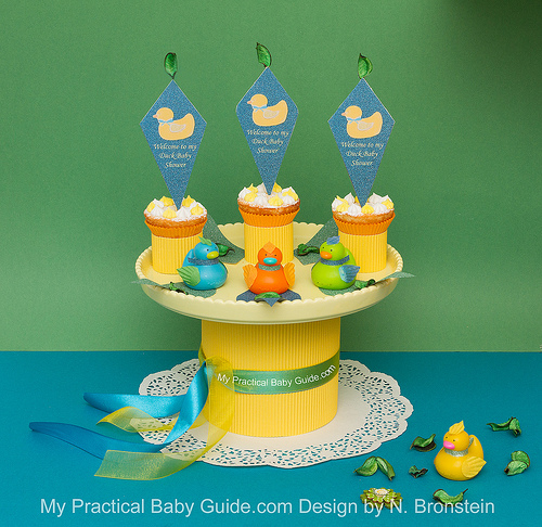 DIY Duck Baby Shower Centerpiece with Duck Cupcake Toppers