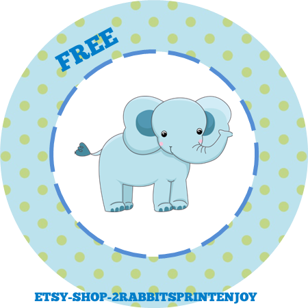 Free Printable Elephant Blue Cupcake Toppers or Gift Tags
