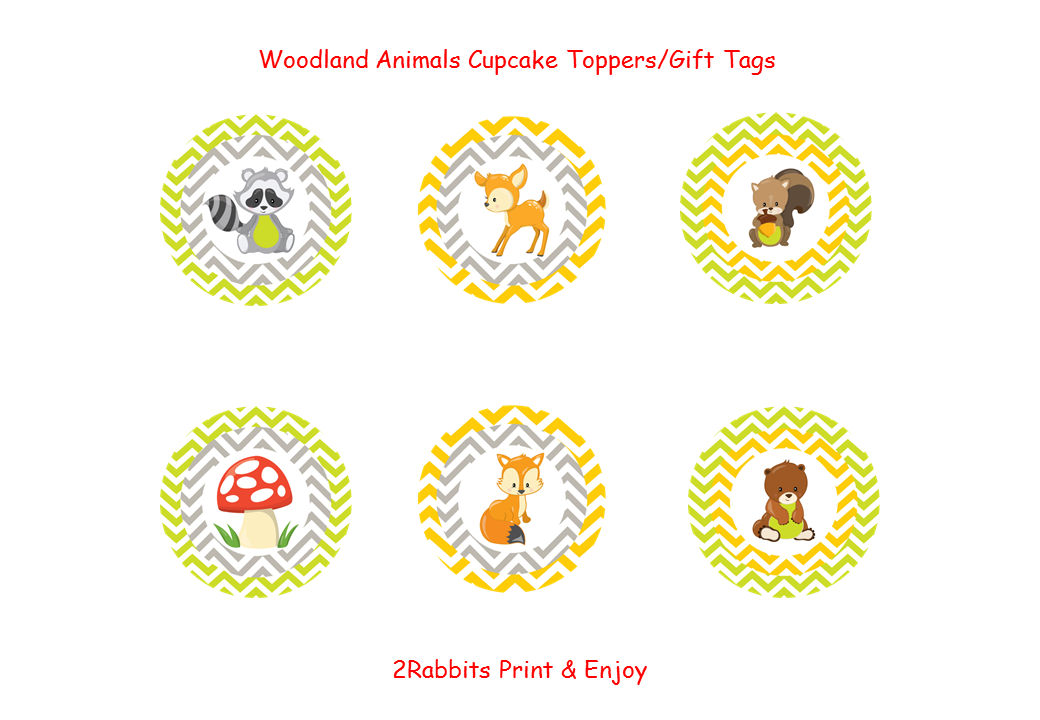 Woodland Animal Cupcake Toppers - Gift Tags