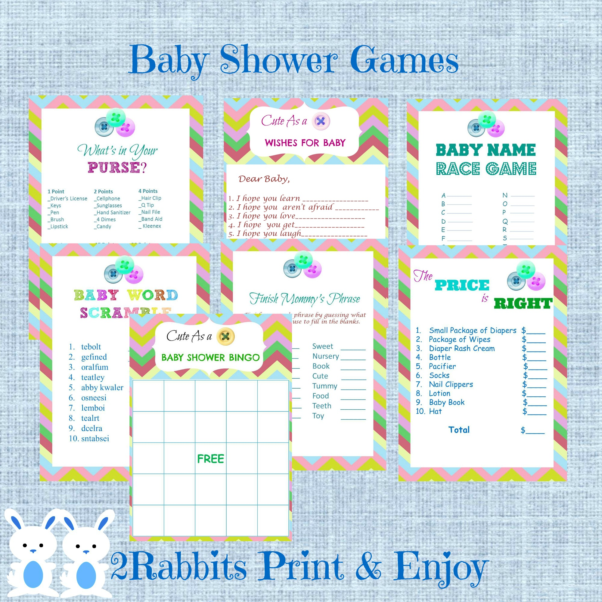 Cute As A Button Baby Shower Printable Games Package