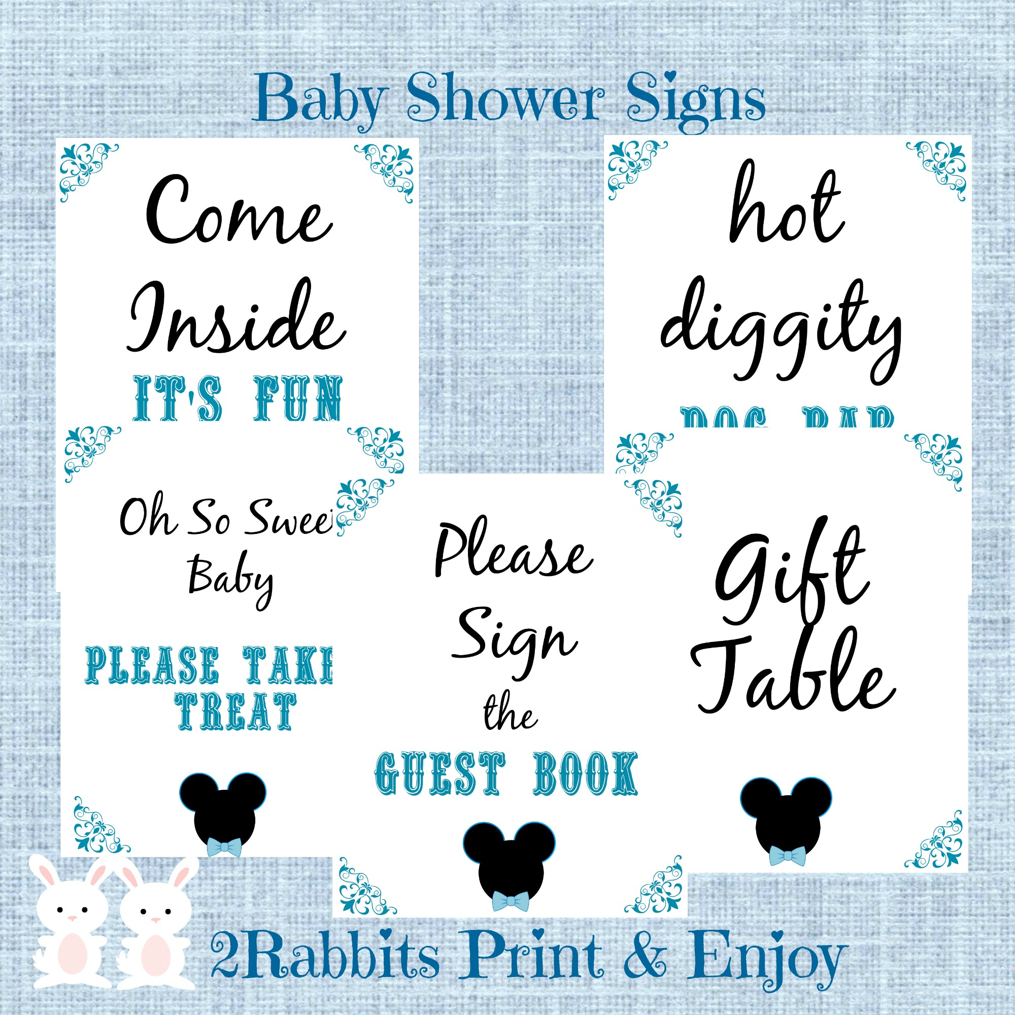 5 Printable Mickey Mouse Baby Shower Table Signs