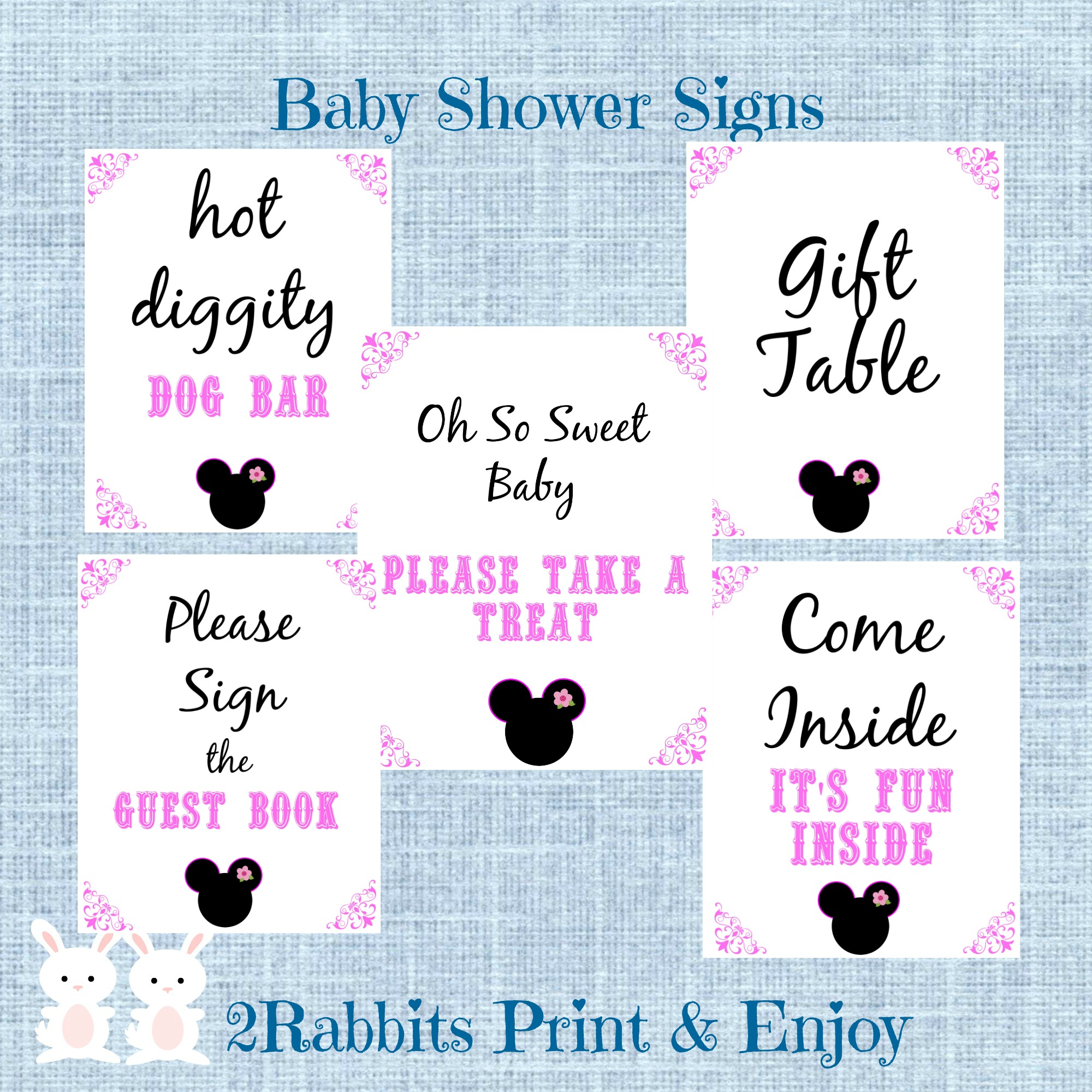 5 Printable Minnie Mouse Baby Shower Table Signs
