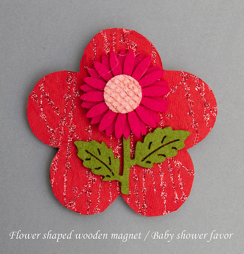 Flower shaped wooden magnet with felt decoration baby shower favor