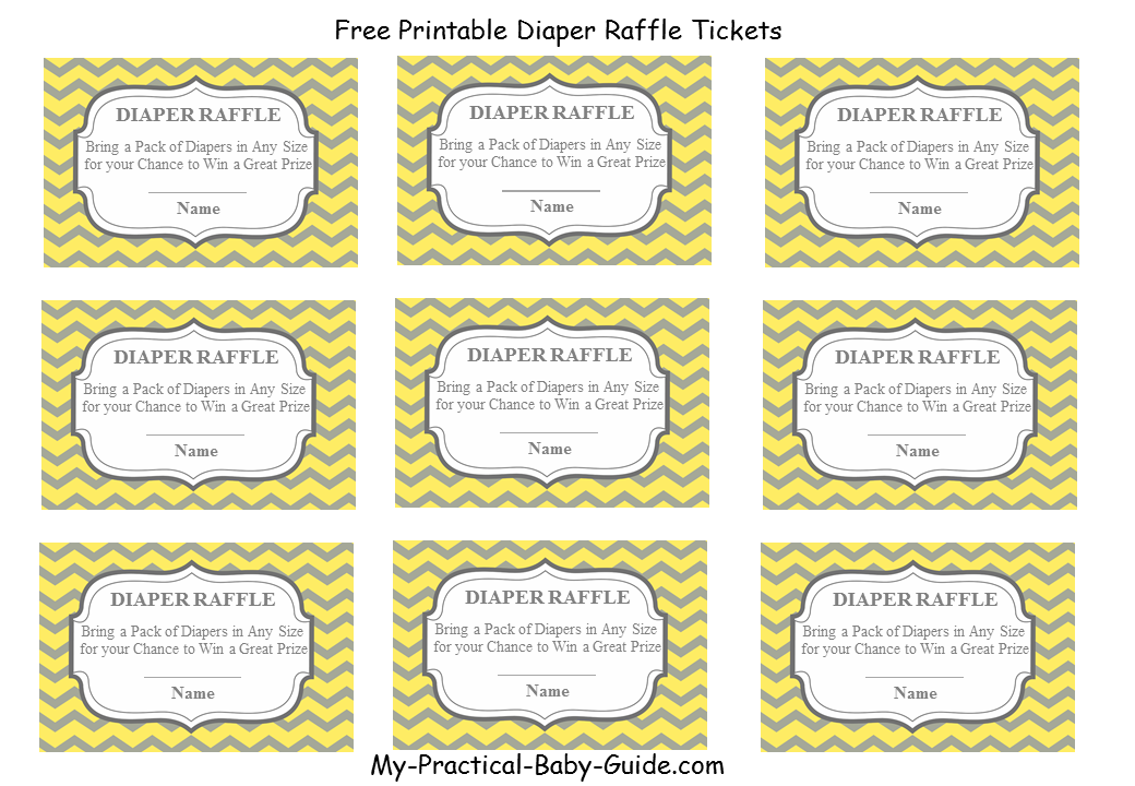 Free Printable Diaper Raffle Tickets plus Matching Sign