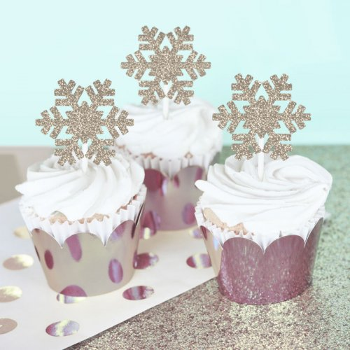 Snowflake Shaped Gold Glitter Stickers