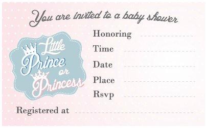 Gender Reveal Baby Shower Invitation Little Prince or Princess