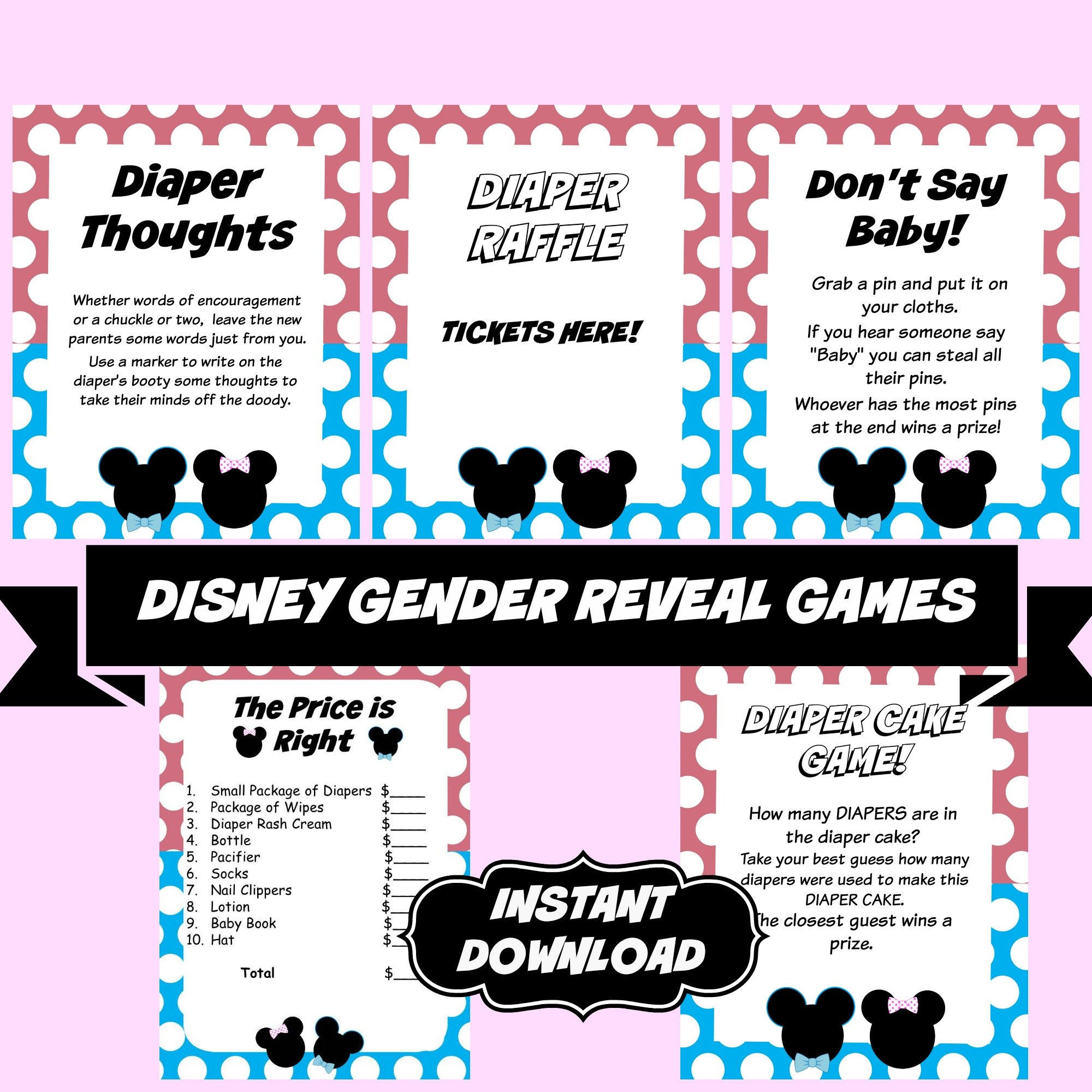 Gender Reveal Disney Baby shower Games