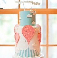Hot Air Balloon Baby Shower Cake